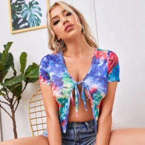 Tie Dye Tie Front Top and Matching Biker Shorts